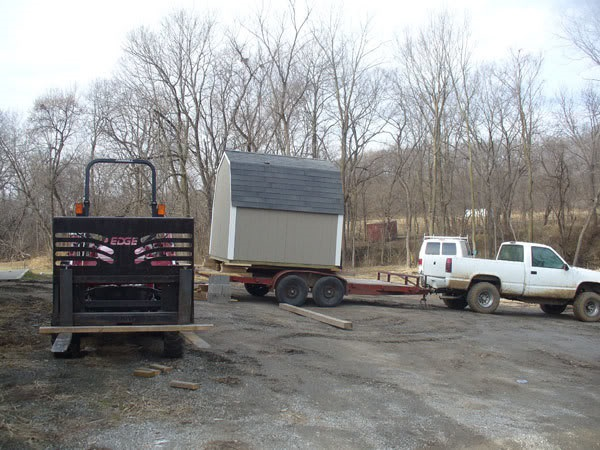 Shed Being Pulled On A Trailer