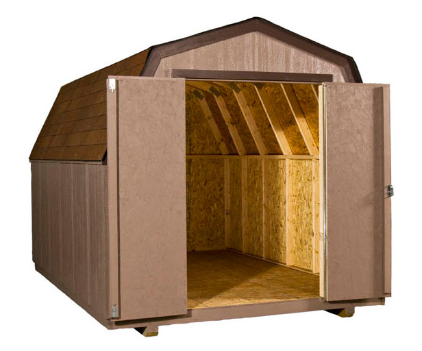tan gambrel shed