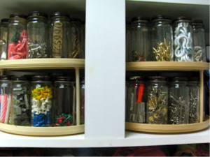 lazy susan and jars organization for sheds