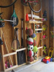 ball storage with bungee cords