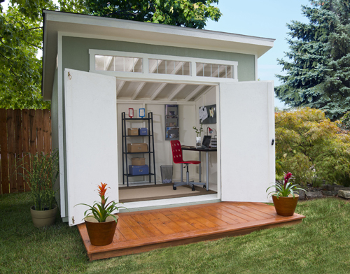 Contemporary living ideas using backyard sheds for Garden office interior design ideas