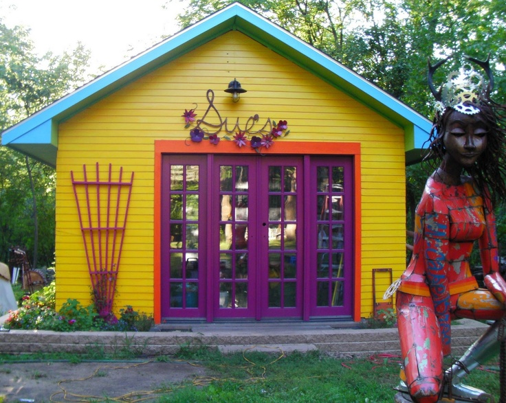 whimsical colored sheds