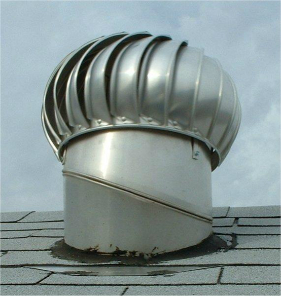 whirlybird roof ventilation on top of a shed