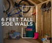 Tall side walls accommodate shovels, weed trimmers, rakes & more.