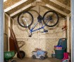 Plenty of storage space for garden tools, bicycles, lawnmowers & more.