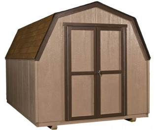 This 8x12 wooden storage building is the perfect solution for lawn & gardening equipment.