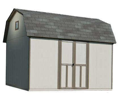 12x8 barn shed features 850 cubic feet of storage space.