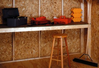10ft. workbench for extra storage and function. Items shown for demonstration purposes only.