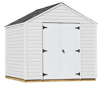 NEW ARRIVAL! Vinyl tool shed includes maintenance free white vinyl siding.