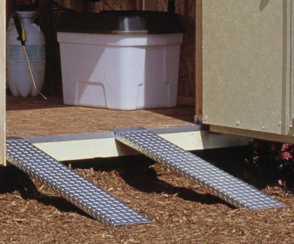 This pair of metal ramps for sheds will provide easy access for lawn tractors, ATV's and other equipment.