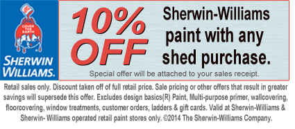 10% off Sherwin-Williams paint program for sheds