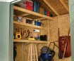 Includes loft, shelf, workbench and pegboard.