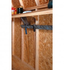 10' shelves for storage sheds. Items shown for demonstration purposes only.