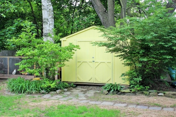8'x10' outdoor wood shed | backyard tool storage solution